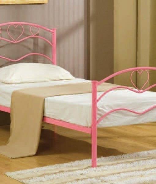 Nancy pink girls metal bed bf beds leeds cheap beds leeds - Cheap childrens bed frames ...