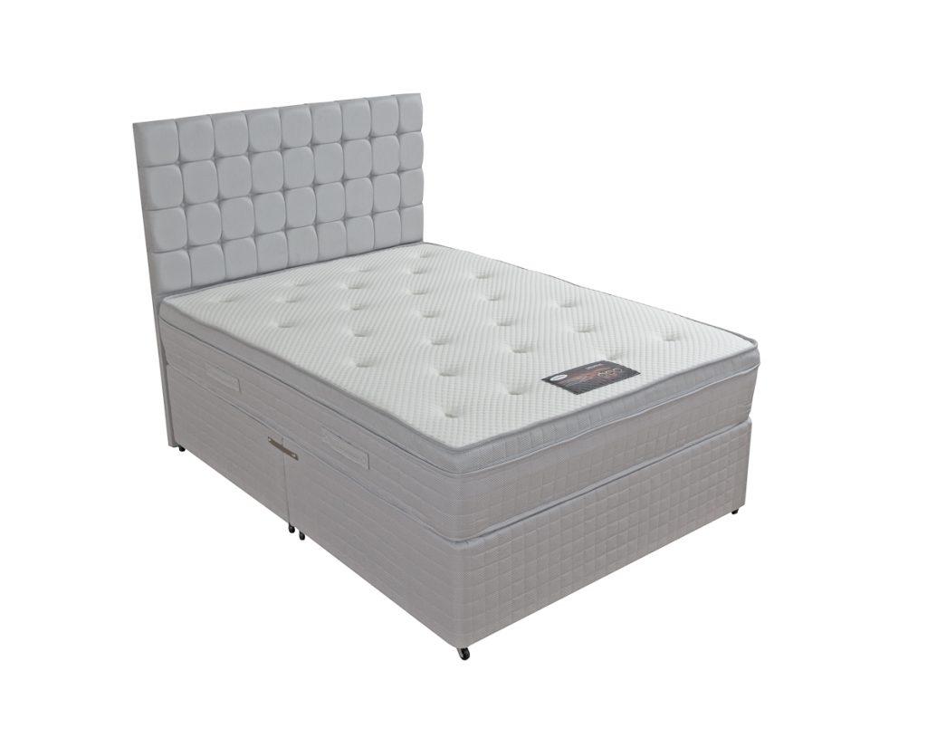 Memphis orthopaedic memory foam divan bf beds leeds for Cheap divan double beds with storage