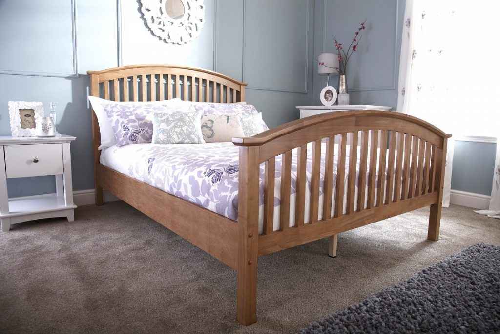 4e27d9345f87 Oak wooden high footend bedstead Madrid - BF Beds - Leeds.