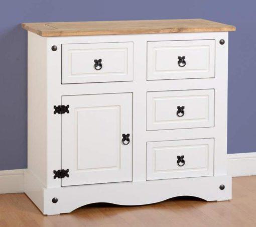 Corona 1 Door 4 Drawer Sideboard in WhiteDistressed Waxed Pine