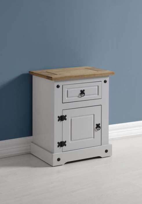 Corona 1 Drawer 1 Door Bedside Cabinet in GreyDistressed Waxed Pine