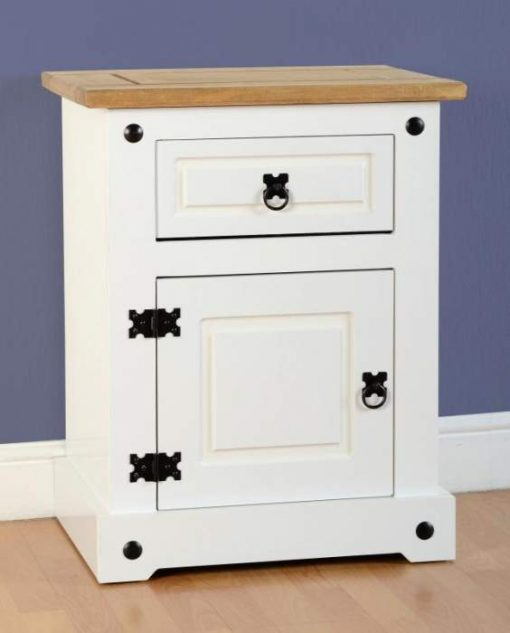 Corona 1 Drawer 1 Door Bedside Cabinet in WhiteDistressed Waxed Pine
