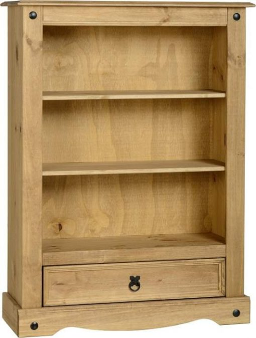 Corona 1 Drawer Bookcase in Distressed Waxed Pine