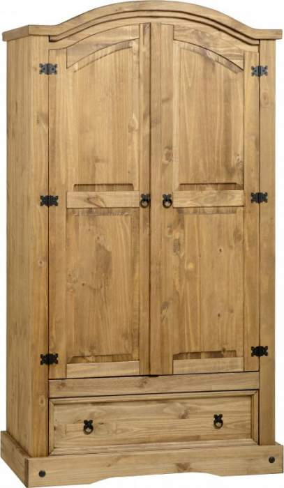 Corona 2 Door 1 Drawer Wardrobe in Distressed Waxed Pine