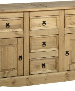 2 Door 5 Drawer Sideboard - Corona in Distressed Waxed pine