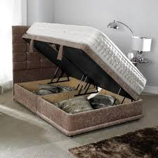 Ottoman gas lift bed with headboard and a 1000 pocket spring mattress
